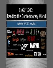 ENGL 1200 F17 Unit One Lecture Two Franchises PowerPoint Slides.pptx