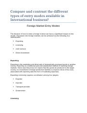 Compare and contrast the different types of entry modes available in International business.docx