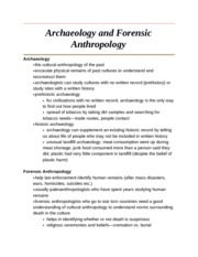 Archaeology and Forensic Anthropology