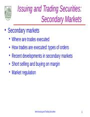 A.2 Secondary Market for Securities