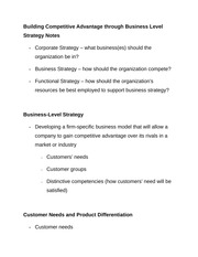 Building Competitive Advantage through Business Level Strategy Notes