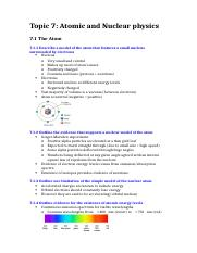 Topic 7; Atomic and Nuclear physics (notes)
