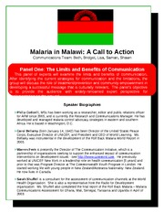 Malaria in Malawi Handout Example