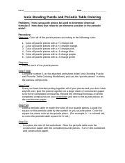ionic bonding puzzle activity worksheet answers