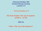 Classical Studies 202 Lecture 5a