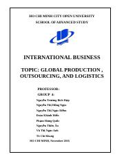 Global production , outsourcing ang logistis