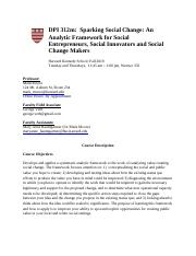 DPI 312-Sparking Social Change- An Analytic Framework for Social Entrepreneurs, Social Innovators an