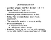 Lecture 6A on Chemical Equilibrium