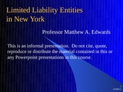 Law 3102 entity comparisons limited liability slides from Matt Edwards