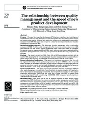 The relationship between quality...