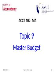 Topic 9 Master Budget.pptx