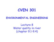 8_CVEN 301_ Lecture 8_Water quality Mangement