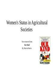 Women'sStatusinAgriculturalSocieties