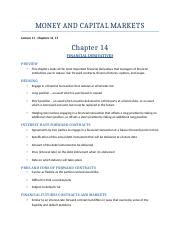 MONEY AND CAPITAL MARKETS - Lect. 14,15
