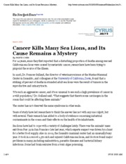 NYT Cancer in Sea Lions