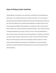Ways of Writing Creative Nonfiction