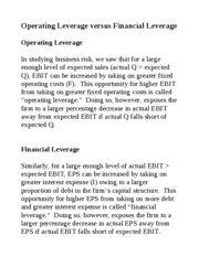 Operating vs Financial Leverage