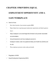 Lecture Notes- Chapters 3-6 (Providing Equal Employment Opportunity and a Safe Workplace)
