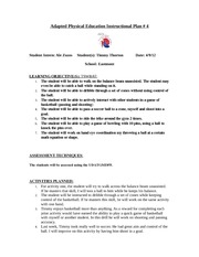 Adapted Physical Education Instructional Plan 4