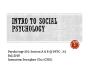 Intro to Social Psychology Lecture