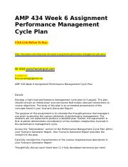 AMP 434 Week 6 Assignment Performance Management Cycle Plan