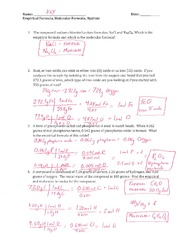 Worksheet Empirical And Molecular Formula Worksheet empirical and molecular formula of the 2 pages hydrate key