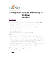 Gr8L22Solving Inequalities by Multiplying or Dividing Worksheet#3