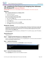 0.0.0.2 Lab - Installing the IPv6 Protocol with Windows XP - ILM