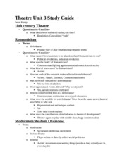Theatre Unit 3 Study Guide