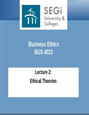 Lecture 2- Ethical Theories