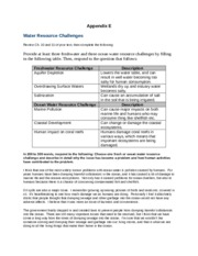 SCI 275 Week 6 CheckPoint Water Resource Challenges