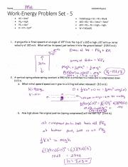 Work-Energy Problem Set 4 Solutions pdf - Name KE = 1/2mv2 PEg = mgh