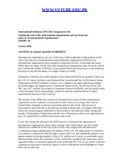 International Relations - PSC201 Spring 2008 Assignment 06 Solution.doc