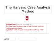 The Harvard Case Analysis Method