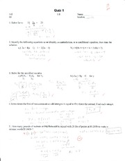 College Algebra Quiz 1