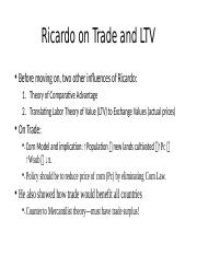 Ricardo on Trade and LTV.pptx