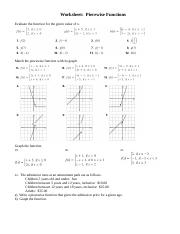 WS Piecewise Functions.doc - Worksheet Piecewise Functions Evaluate ...