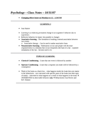 Class Notes - 10-31-07