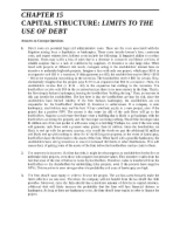Chapter 15  Capital Structure  Limits to the Use of Debt