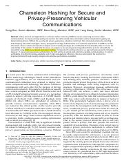 Chameleon Hashing for Secure and Privacy-Preserving Vehicular Communications, 2014 (IEEE TPDS)