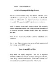 Lecture 9 Notes Hedge Funds