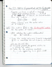 Section 5.7 - Matrix Exponentials an Linear Systems