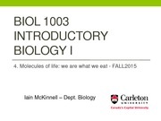 BIOL1003 -4_Molecules of life - Fall2015
