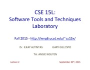 CSE15LFall2015Lecture230thSep2015