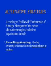 Lecture 8  Strategic Management - Alternative Strategies