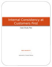 Internal Consistency at Customers First - Christine Tiernan - Case Study Two