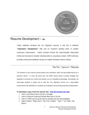 RESUME DEVELOPMENT PACKET AUGUST 2010 FINAL