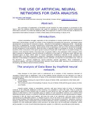 THE USE OF ARTIFICIAL NEURAL NETWORKS FOR DATA ANALYSIS.doc