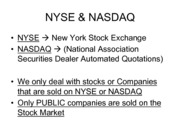 stock market definitions
