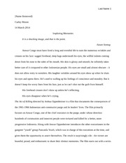 Model Essay for Spring2015 Essay 1 (The Act of Killing